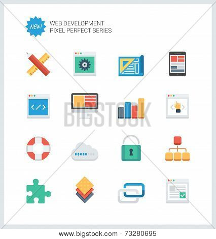 Pixel Perfect Web Development Flat Icons