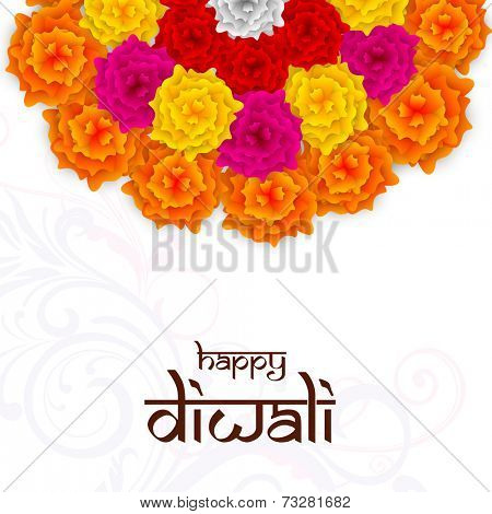 Diwali celebration with half colorful flowers rangoli with stylish text of Diwali on floral decorated background.