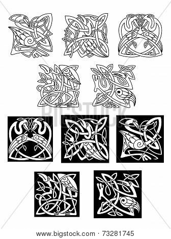 Heron and stork celtic ornaments