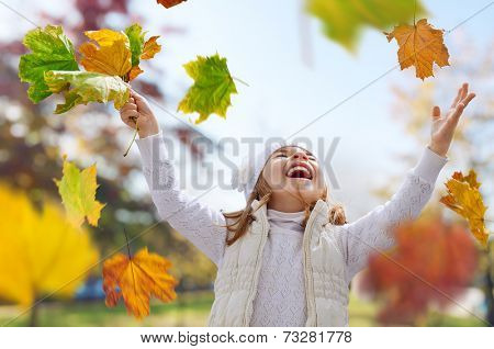 Happy child having fun in park