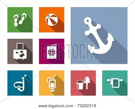 Beach and travel flat style icons set