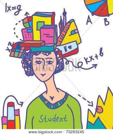 Student with books data infographics