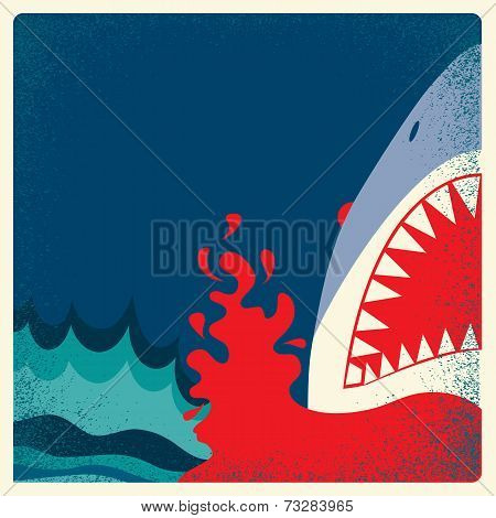 Shark Jaws Poster.vector Danger Background