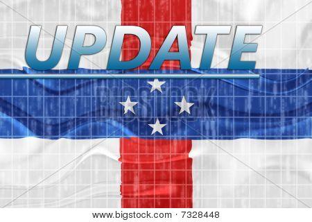 Bandera de noticias ondulado Netherland Antilles