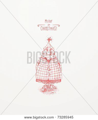 Christmas Tree Character. Christmas greeting card