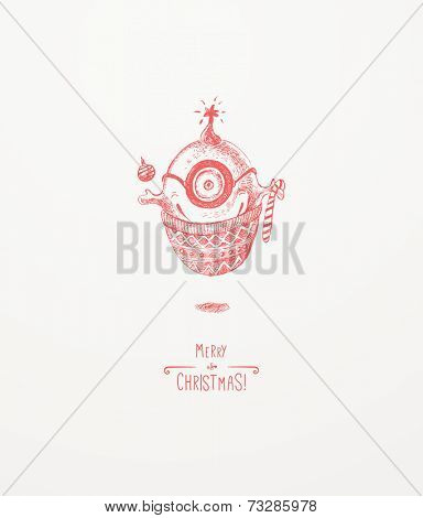 The little Christmas monster. Christmas greeting card