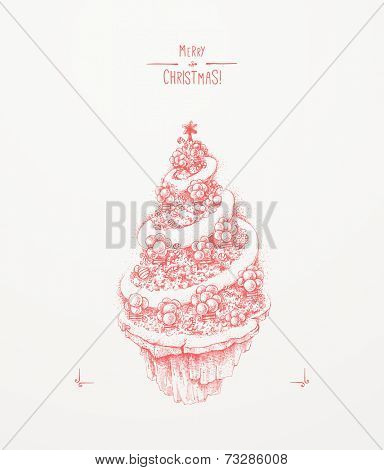 Christmas greeting card. Christmas tree