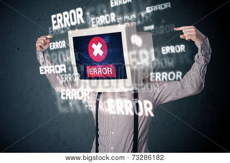 Business man with pc monitor on his head and error messages darker background