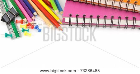 Stationery Background - Education Accessories On White