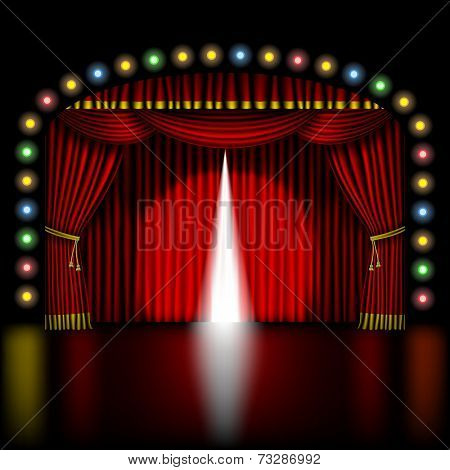 stage with opening red curtain and lights