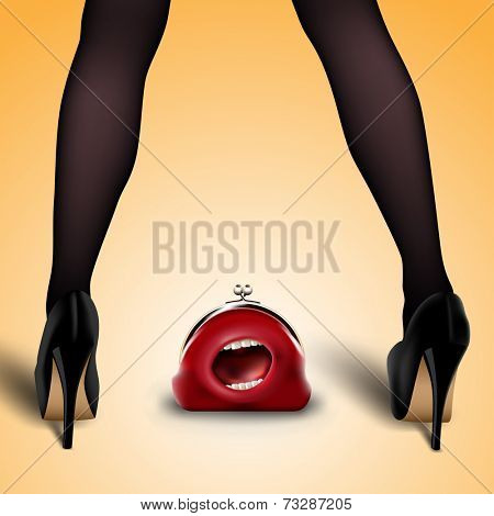 women's legs in stockings and shoes with lost red purse