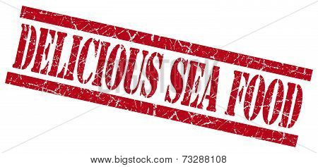 Delicious Sea Food Red Square Grunge Textured Isolated Stamp