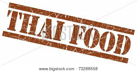 Thai Food Brown Square Grunge Textured Isolated Stamp