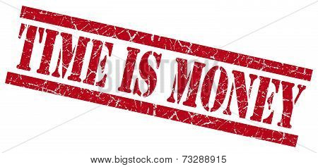 Time Is Money Red Square Grunge Textured Isolated Stamp