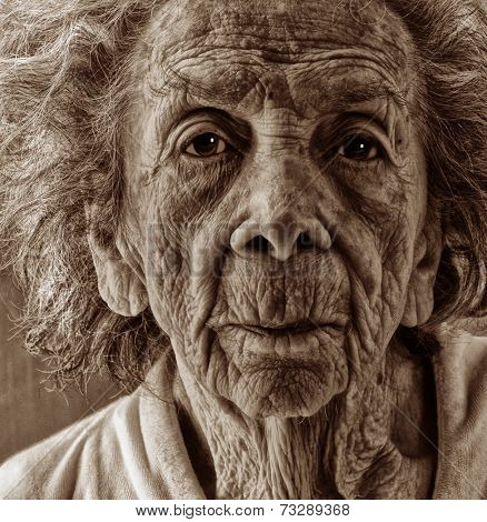Very emotional Black and White Image of a Old woman
