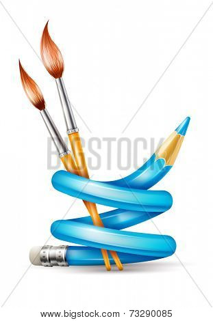 Creative art design concept with twisted pencil and brushes tools for drawing. Eps10 vector illustration. Gradient mesh used. Isolated on white background