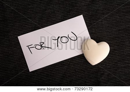 For You Written On White Card With White Heart