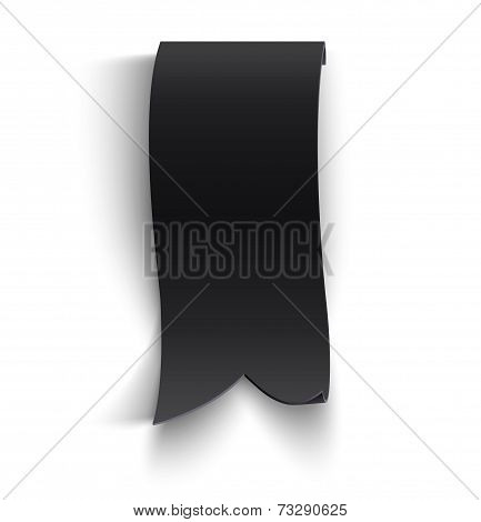 Black realistic curved paper banner