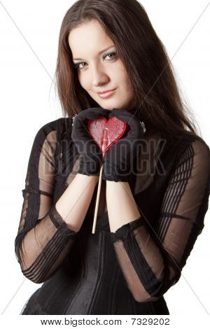 Gothic Girl With Lollipop
