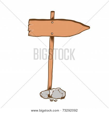 Wooden Direction Sign Arrow Isolated On A White Background. Color Line Art. Retro Design. Vector Ill