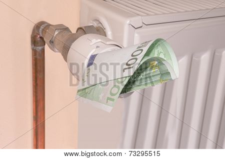 Thermostat With 50 Euro. Heating Costs Concept.