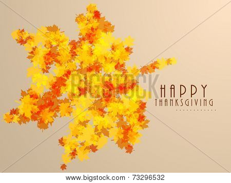 Beautiful greeting card design with a big maple leaf made by many little maple leaves for  Thanksgiving Day celebrations.