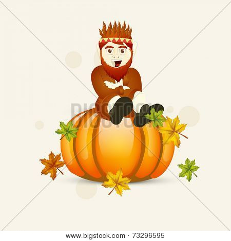 Creative Happy Thanksgiving Day celebrations concept with young tribe man sitting on glossy pumpkin and colorful maple leaves on beige background.
