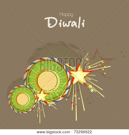 Stylish text of Diwali with exploding crackers for Diwali celebration on brown background.