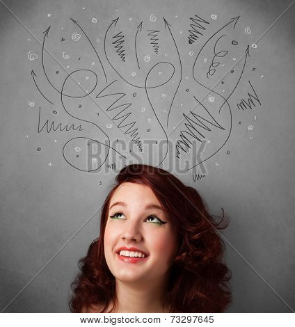 Pretty young woman deciding with sketched arrows over her head