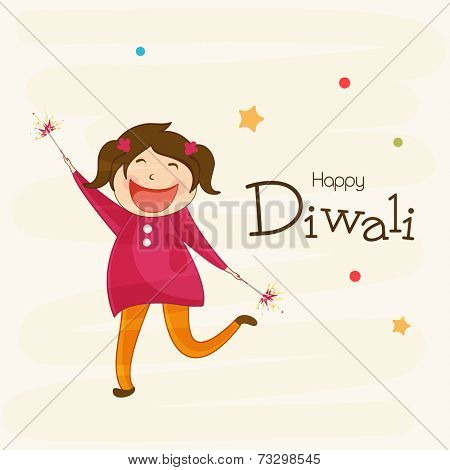 Little cute girl holding firecrackers and stylish text of Diwali for Diwali celebration on beige colour background.