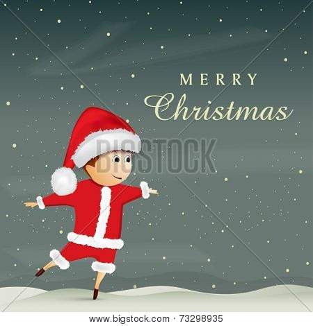 Cute little Santa kid in stars night background, Merry Christmas celebrations greeting card design,