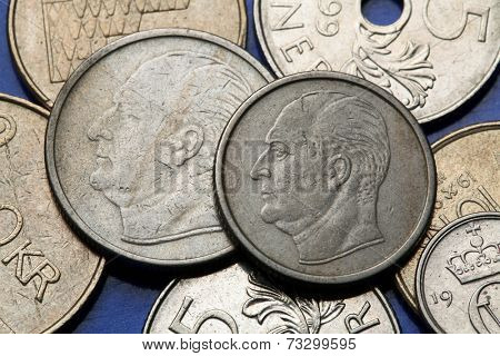 Coins of Norway. King King Olav V of Norway depicted in Norwegian krone coins.