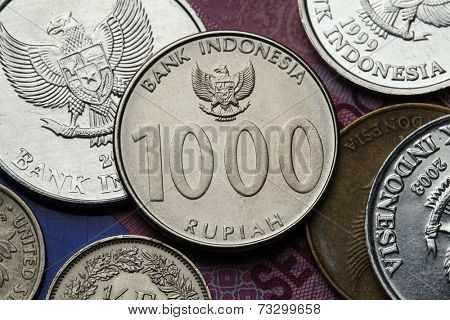 Coins of Indonesia. Indonesian national emblem called the Garuda Pancasila depicted in the Indonesian one thousand rupiah coin.