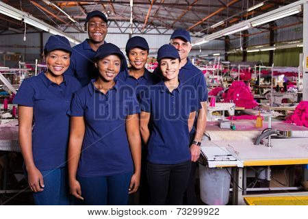 group of textile workers in production area