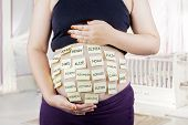 pic of  belly  - Close up of pregnant belly with baby names choices on woman belly shot in bedroom - JPG