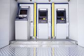 pic of automatic teller machine  - New three atm machine in public place - JPG