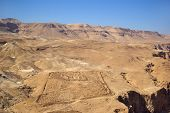 foto of zealots  - View on roman fortifications and Judean desert from Masada fortress Israel - JPG