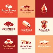 stock photo of motor-bus  - car flat icons set logo ideas for brand - JPG