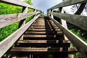 stock photo of stairway to heaven  - Natural wooden stairway to heaven in austrial Alps - JPG