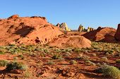 stock photo of valley fire  - interesting rock formations at the Valley of Fire State Park near Las Vegas Nevada - JPG