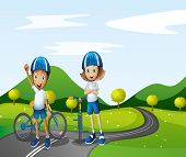 picture of playmate  - Illustration of a boy and a girl biking - JPG