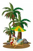 stock photo of palm-reading  - Illustration of a duck reading near the palm trees on a white background - JPG