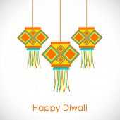 pic of diwali  - Diwali festival celebration with colorful hanging and stylish text of Happy Diwali on white - JPG