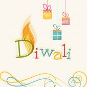 picture of diwali  - Stylish text of Diwali with flame and hanging gift for Diwali celebration on floral decorated background - JPG