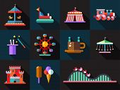foto of carnival ride  - Set of vector flat design amusement park icons - JPG