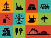 picture of amusement park rides  - Set of vector flat design amusement park icons - JPG