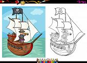 pic of spyglass  - Coloring Book or Page Cartoon Illustration of Black and White Pirate Captain with Spyglass and Ship with Jolly Roger Flag for Children - JPG