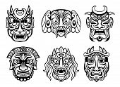 picture of zulu  - Expressive religious masks in tribal style isolated on white - JPG