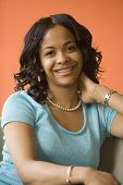 image of braces  - African woman with orthodontic braces - JPG