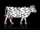 stock photo of cash cow  - Cash cow composed of dollar symbols - JPG